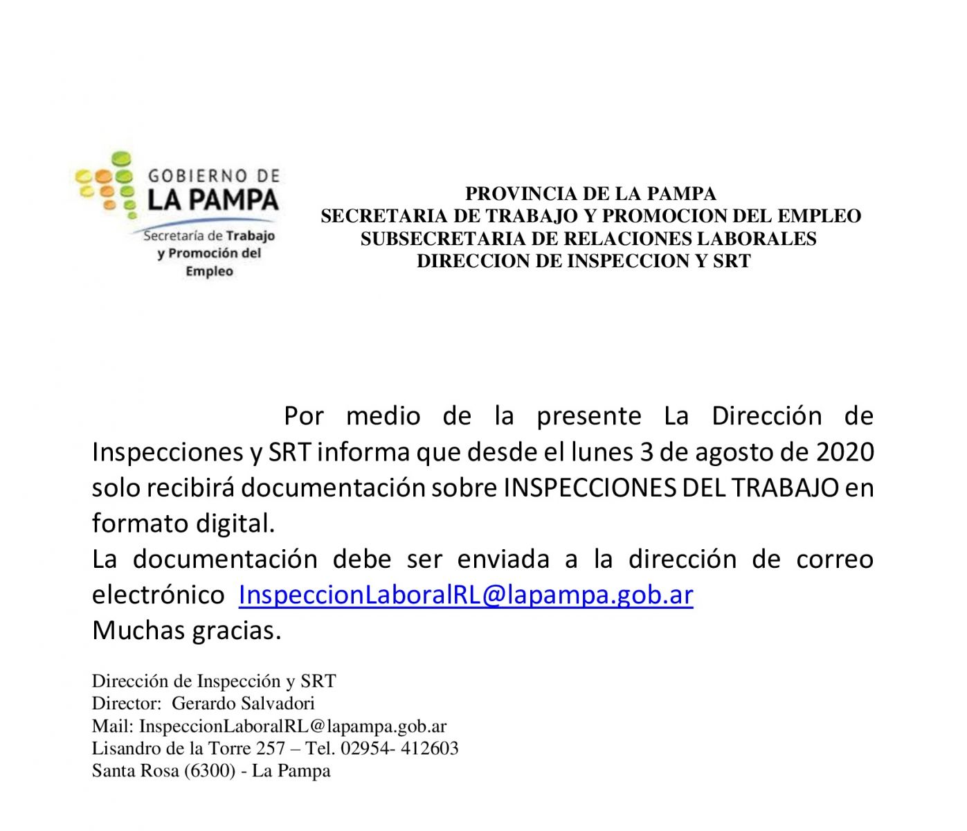 Información de la Dirección de Inspecciones y SRT